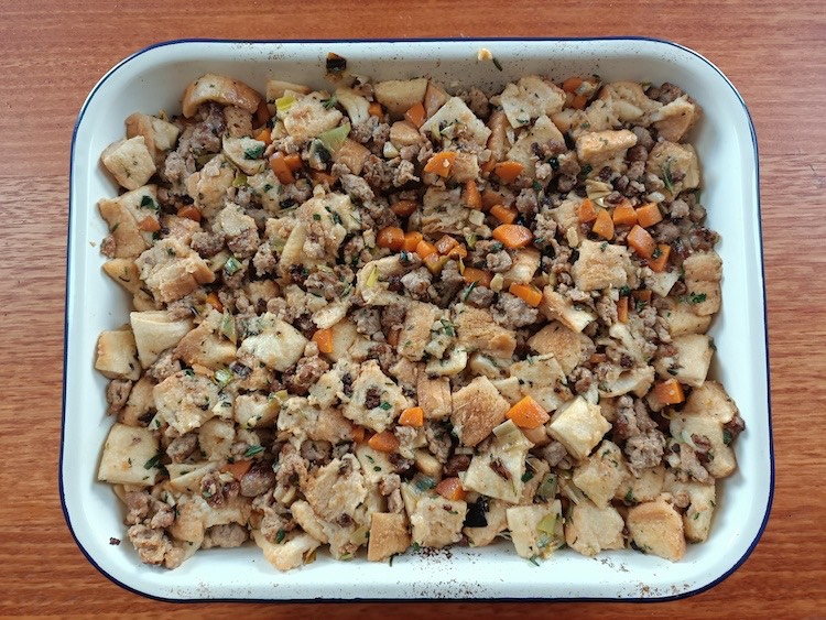 uncooked stuffing in a pan