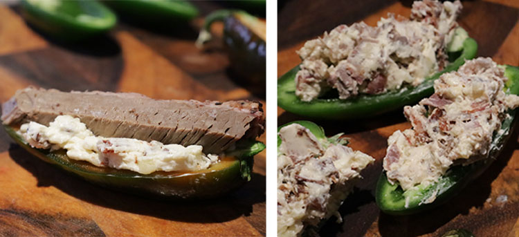 jalapeno peppers with brisket, bacon and cream cheese filling