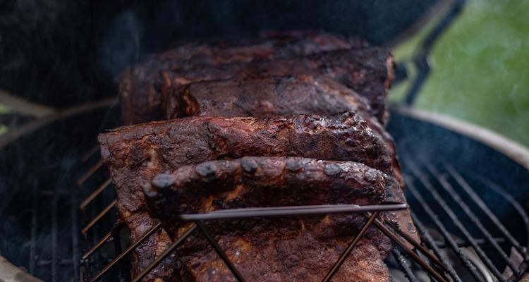 pork ribs on a smoker
