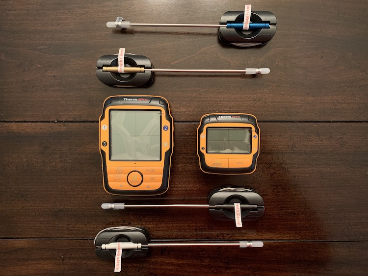 ThermoPro TP27 and color coded probes on the wooden table