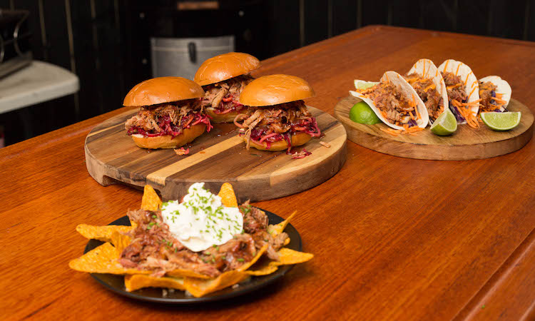 pulled pork served in burgers, tacos and on nachos