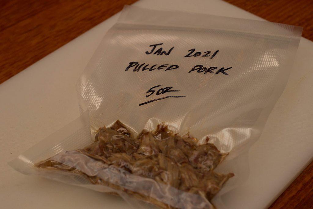 leftover pulled pork in a vacuum-sealed bag.