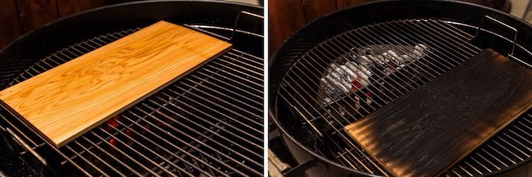 Cedar plank on a grill