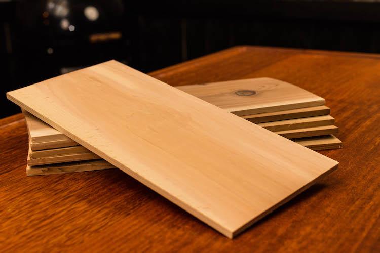 cedar planks on a wooden table