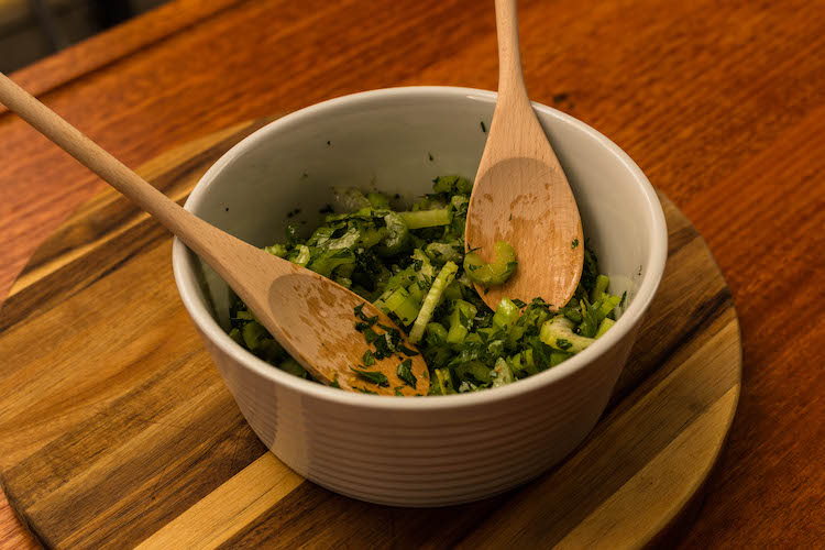 celery and parmesan salad in a bowl