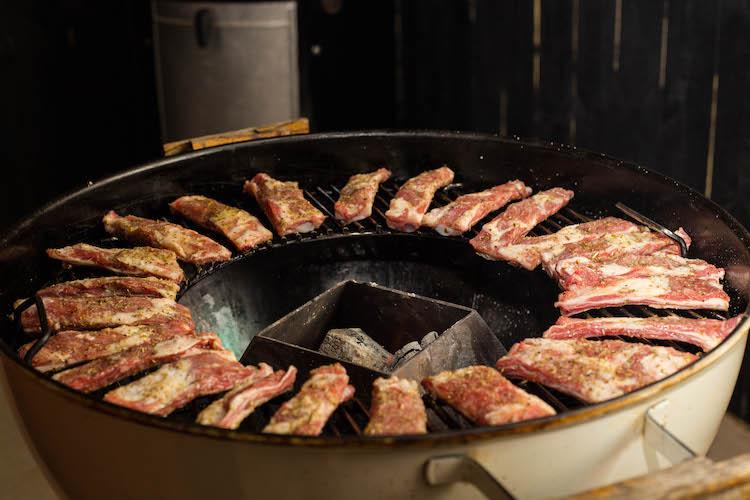 lamb ribs on a grill