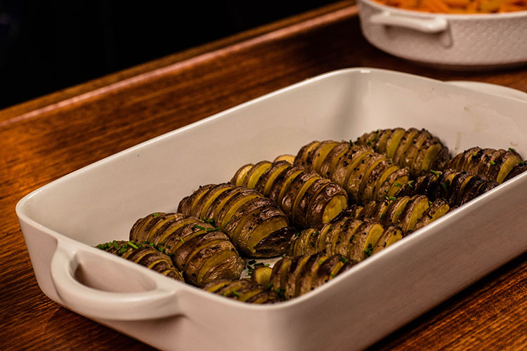 herb and butter Hasselback potatoes