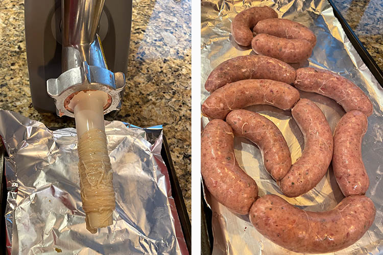 meat grinder with stuffing attachment and uncooked Irish sausages