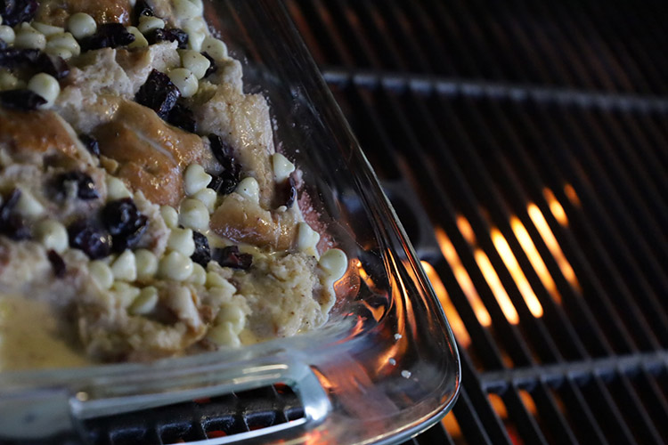 smoked bread pudding in a smoker