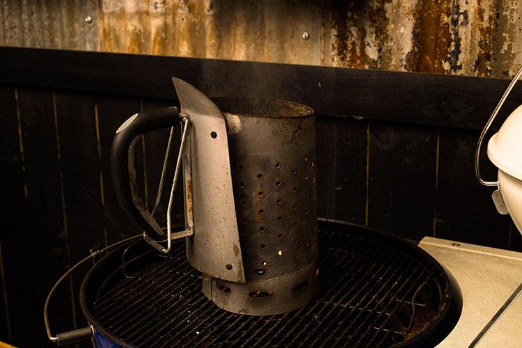 charcoal chimney starter on a weber smokey mountain