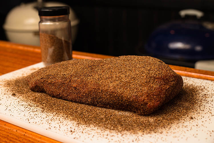 beef flat iron steak covered with coffee rub