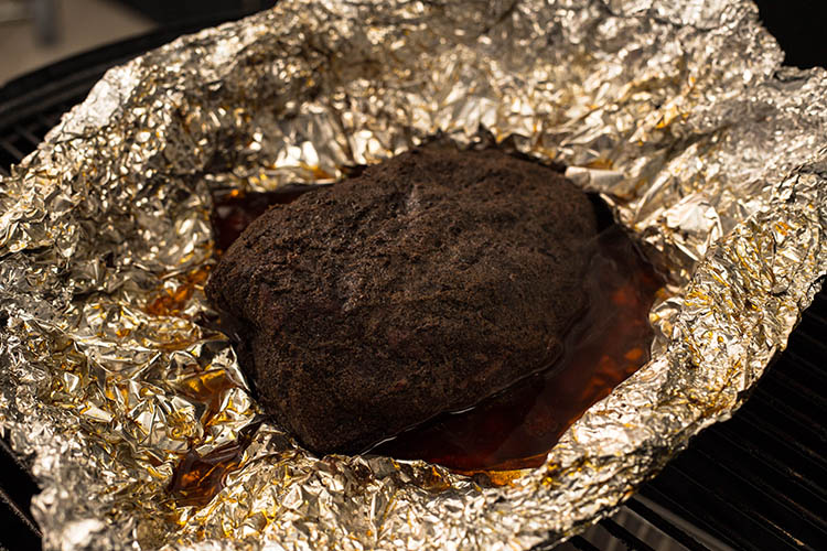 flat iron steak wrapped in foil