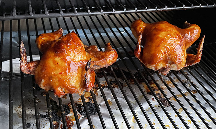 glazed cornish game hens on a Z Grills 700D3 wood pellet grill
