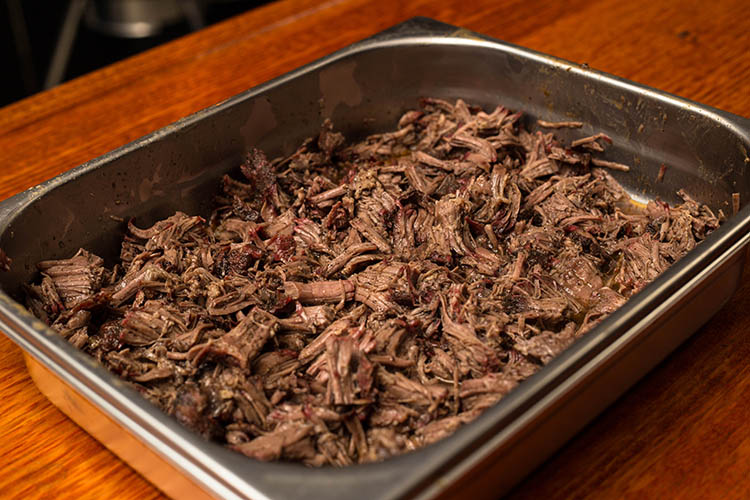 pulled beef in a tray