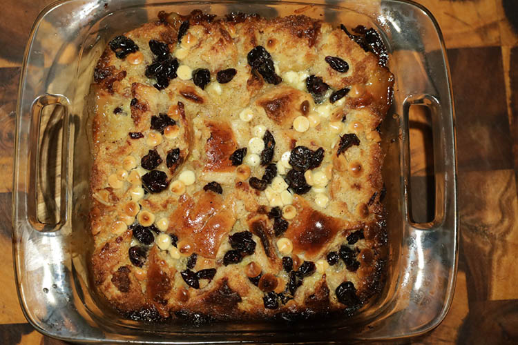 smoked bread pudding in a glass dish