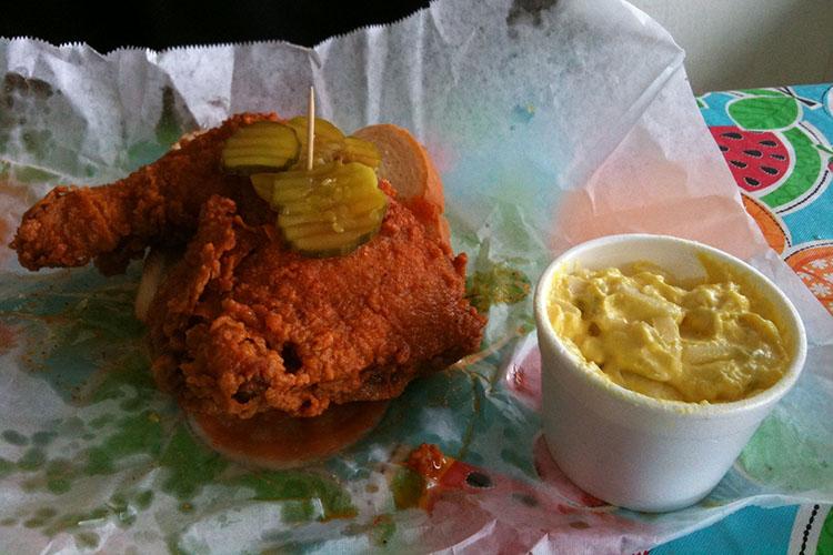 Hot chicken sandwich from Prince's Hot Chicken Shack restaurant