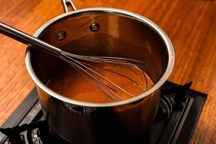 hot sauce in a saucepan