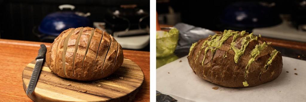 sliced bread with cilantro garlic mixture