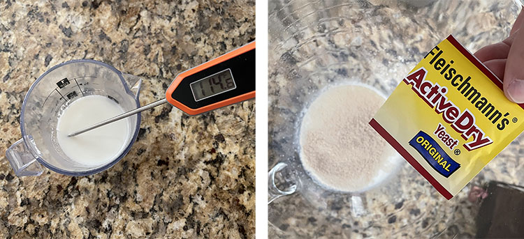 a measuring cup with milk and an instant-read thermometer; a measuring cup with milk and dry yeast