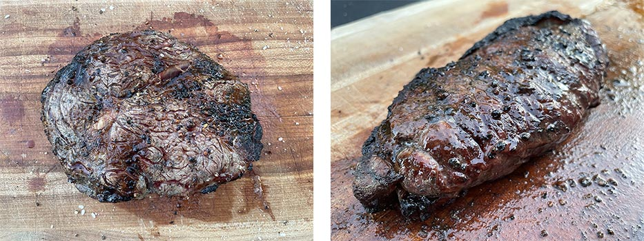 cooked caveman style ribeye steak and NY strip steak on wooden board
