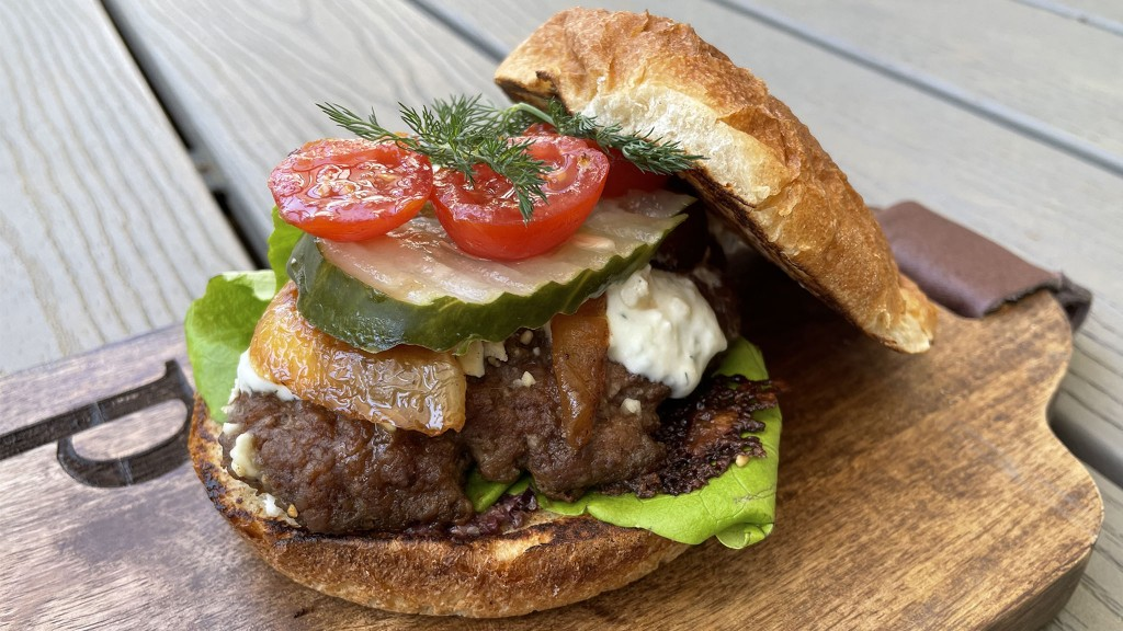 lamb burger on a wooden board