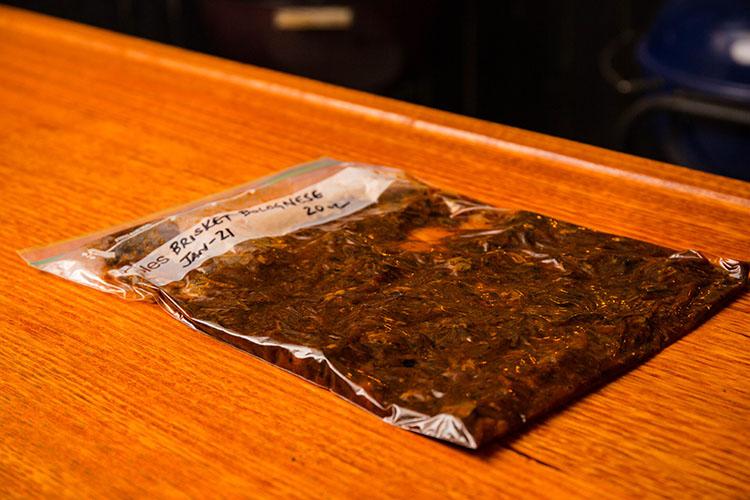 leftover brisket bolognese in a zip lock bag