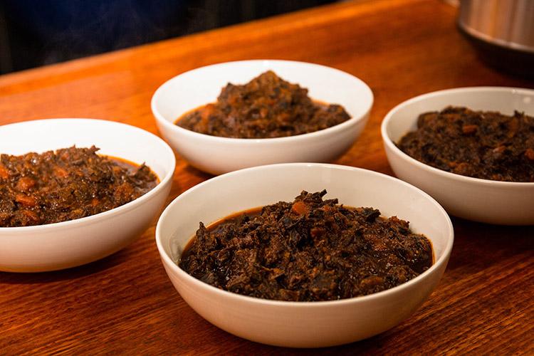 brisket bolognese sauce portions in bowls