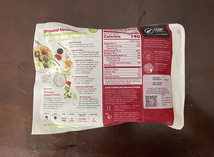 nutrition facts of ground venison