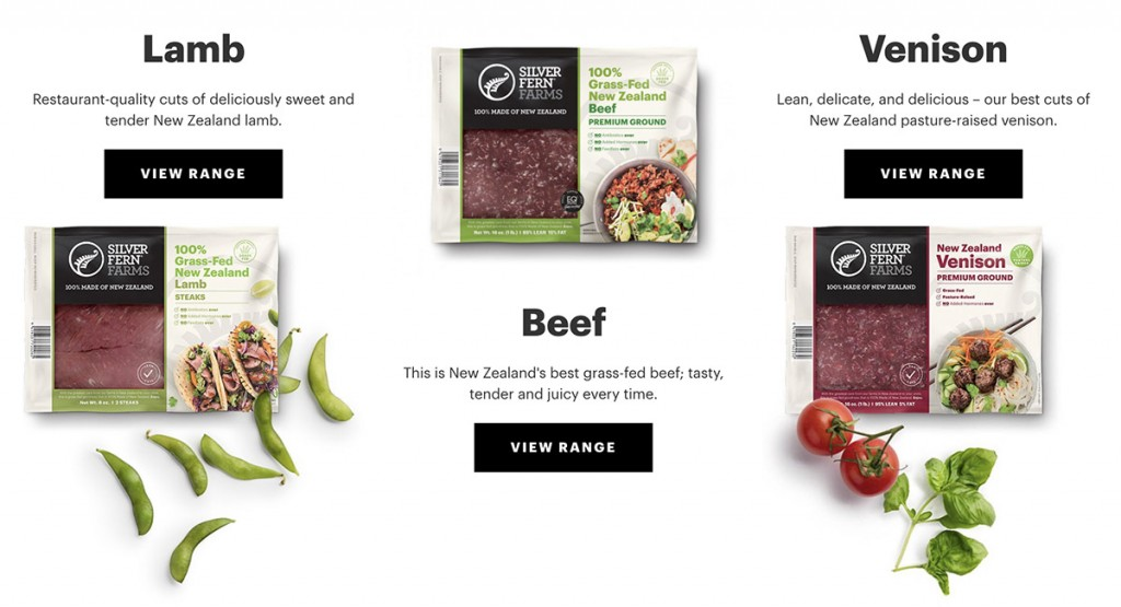 meat selection from silver fern farms on the company's website