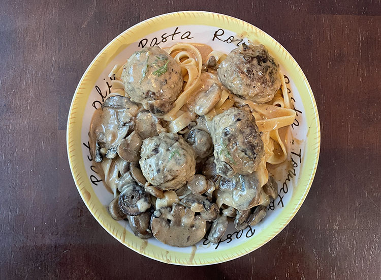 smoked venison meatball stroganoff on a plate