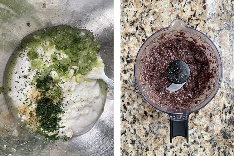 tzatziki sauce and olive tapenade