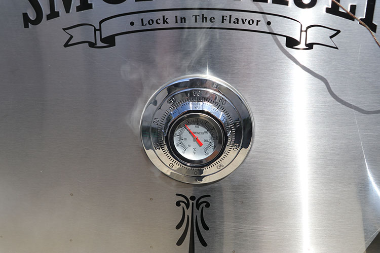 Camp Chef Smoke Vault built in thermometer