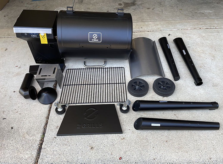 z grills 450b parts on a floor