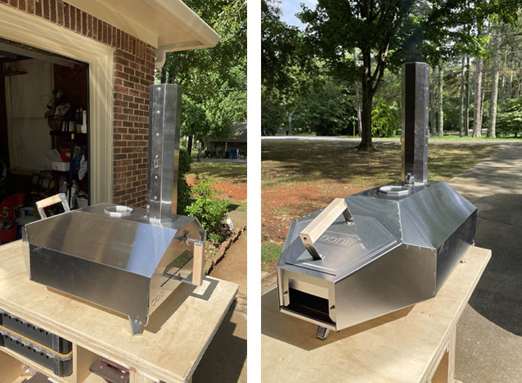 Ooni Pro 16 pizza oven front and back view