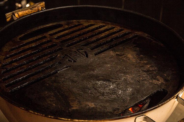 flat top griddle on a weber kettle
