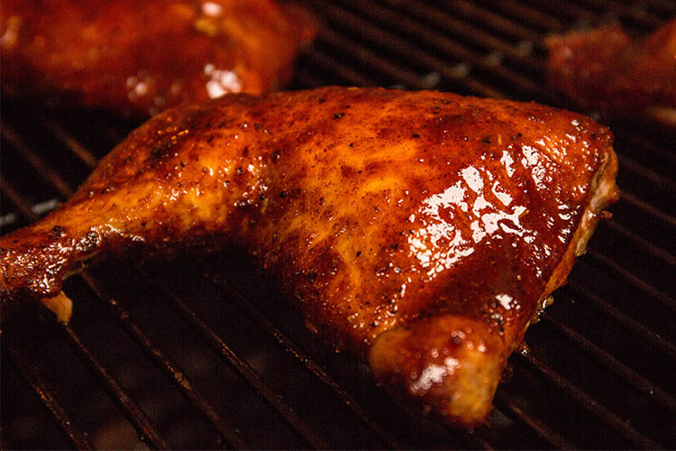glazed smoked chicken leg