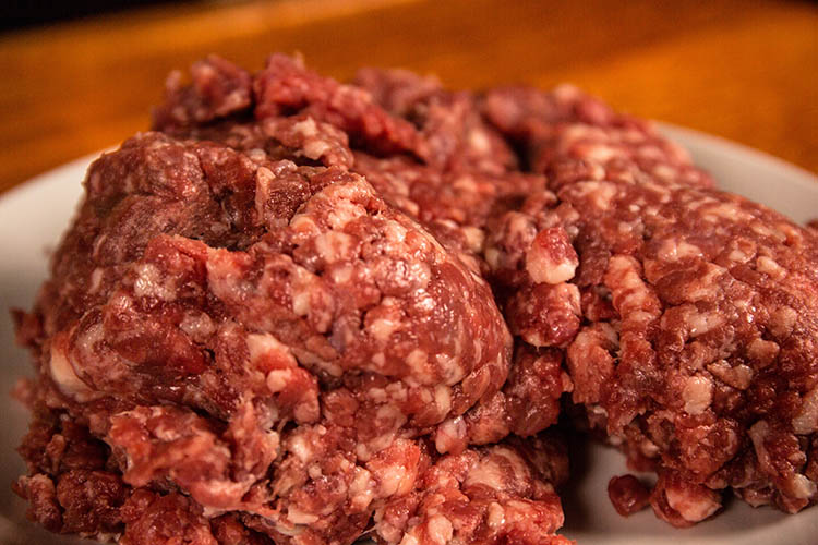 ground beef on a white plate