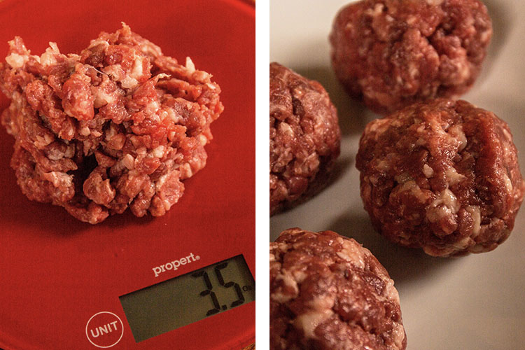 minced beef on a scale and raw meat balls on a white table