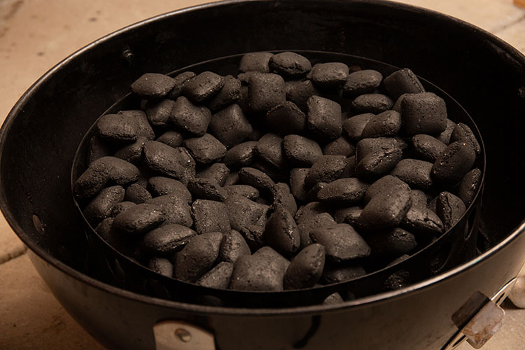 charcoal briquettes in weber smokey mountain
