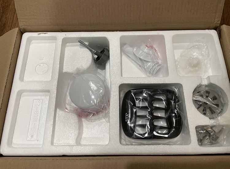 STX Turboforce 3000 grinder accessories packaged in styrofoam
