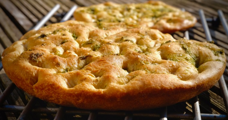 Wild Garlic Focaccia on the large Big Green Egg
