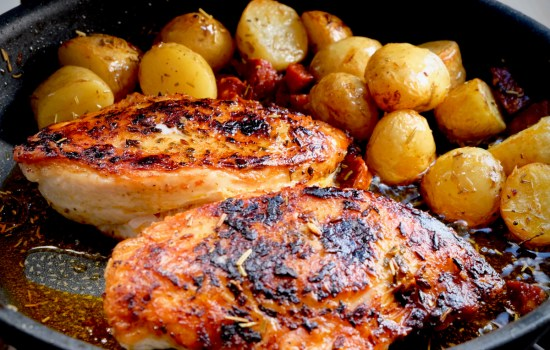 Spicy charred chicken breast with chorizo potatoes