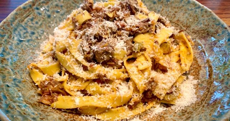 Slow cooked venison ragù and fresh tagliatelle