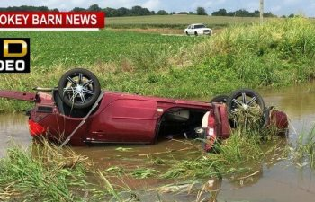 Hydroplaning Blamed for Rollover Crash In Creek