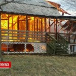 As Winds Peak Firefighters Battle Home Fire In White House