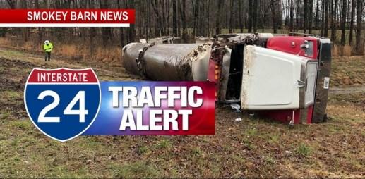 Milk Tanker Rollover Crash Slows I-24 East Saturday