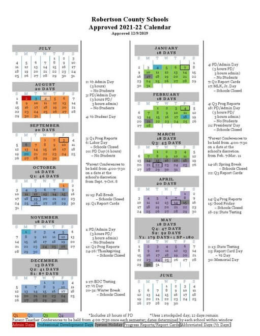 Robertson County School Calendar 2021-2022