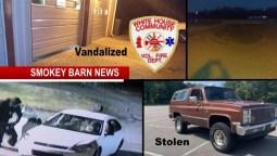 Two Crimes: Fire Station Vandalized/Dealership Vehicle Stolen (Police Seek Leads)