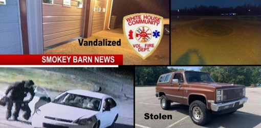 Two Crimes: Fire Station Vandalized/Dealership Vehicle Stolen (Police Seek Leads)