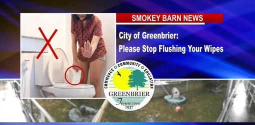 """Greenbrier Mayor, """"Please Stop Flushing Wipes"""""""